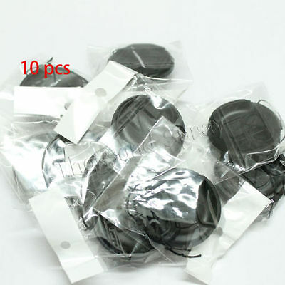 10pcs 72mm Center-Pinch Front Lens Cap + String for Nikon Canon Sony Olympus 10x