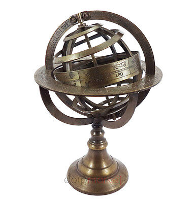 "Brass Armillary Sphere Nautical Decor Big 11.5"" Globes Zodiac Sign Globe Compass"