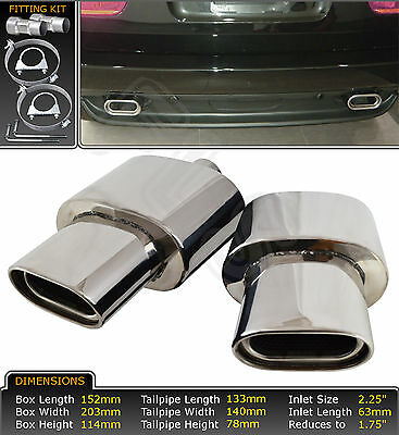 Dual Oval Tailpipe Stainless Steel Universal Exhaust Backboxes For Bmw X5 E53