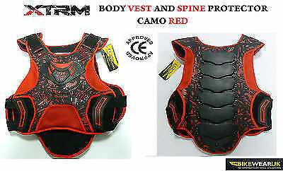 Xtrm Adult Motorcyclce Motocross Body Chest Deflector Armour Protector Camo Red