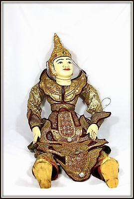 "Incredibly Rare ""Hand Carved Antique Burmese Dancing Marionette"" ( 38.25"" High)"