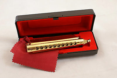NEW GOLD Chromatic Harmonica C Key 10 Hole 40 Tone With Case By Swan/Mouth Organ