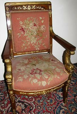 French Empire Gilt Ormolu Mounted Mahogany Fauteuil Aubusson Upholstey Chair