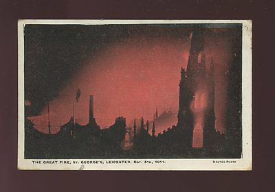 Leicestershire Leics LEICESTER The Great Fire St George's 1911 unused PPC