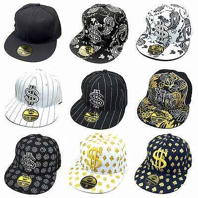 Cap Fitted Dollar & NY allover PAISLEY schwarz weiß hiphop style fullcap