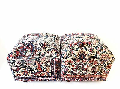 """Superb Ottomans Upholstered w/Antique  Kirman Savonnerie Rug 17""""W by 15""""H pair"""