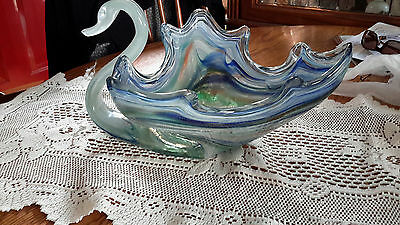 glass swan Blue and green