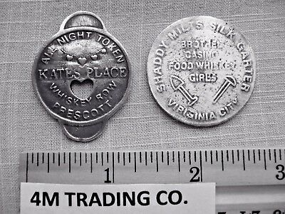 2 Brothel Tokens (Kates Place And Shady Milts) ( Tokens Of The Old West)