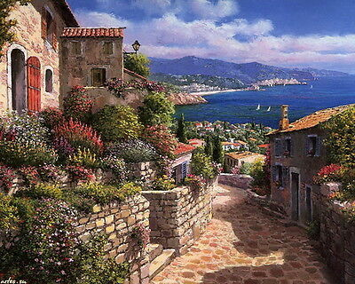 Modern Wall art scenery prints on canvas oil painting Mediterranean Sea 16x20 L4