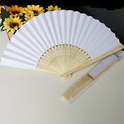 Summer Ladies Hollow Outdoor Folding White Paper Hand Fans Wedding Party Favor
