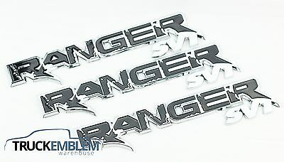 3 New Set Of Custom Chrome And Black Ford Ranger Raptor Style Badges Emblems