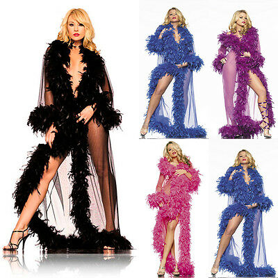 BeWicked 834 Sheer Feather Trimmed Glamour Robe