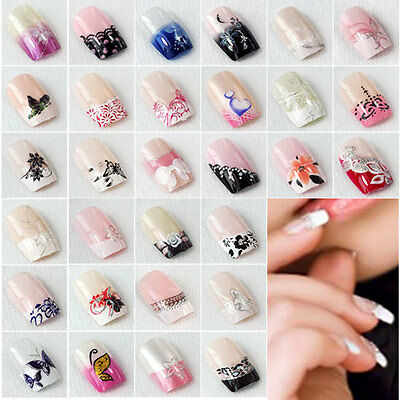 24x New Fashion False French Acrylic Nail Art Tips Artificial Nails Fingernails