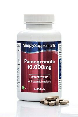 Pomegranate 10000mg 240 Tablets   Super Antioxidant   For Heart & Circulation