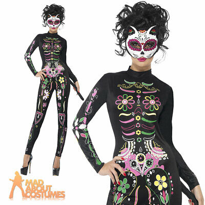 Sugar Skull Cat Costume Day of the Dead Womens Skeleton Fancy Dress Outfit