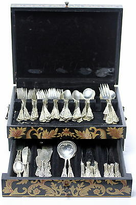Antique Set of Wallace Sterling Silver Flatware  Rose Point Pattern 100 Pieces