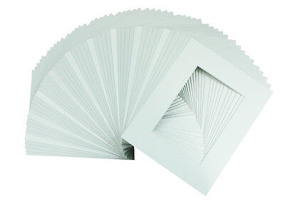 Set of 50 8x10 WHITE photo mats with WhiteCore for 5x7 +Backing +Bags