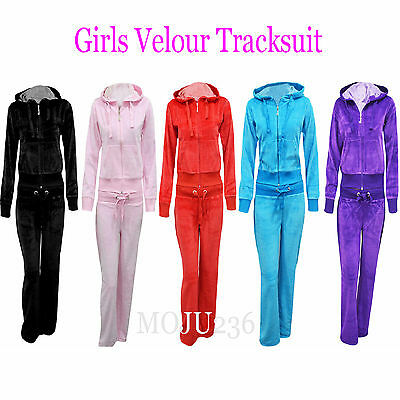 Brand New Girls Kids Sexy Full Luxuary Velour Tracksuit Hooded Jogging  Age 7-13