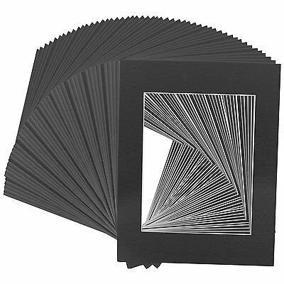 Set of 100 8X10 BLACK photo mats with WhiteCore for 5x7 +Backing +Bags
