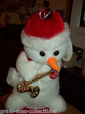 "Animated Snowman W/ Saxophone 10"" H Sings & Dances To Santa Claus Is Coming To"