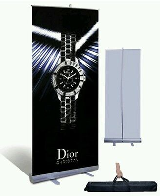 "33"" wide × 80"" tall Retractable Roll Pop Up Banner Stand + FREE Banner Print"