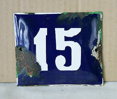 VINTAGE 60`s COBALT BLUE PORCELAIN ENAMEL SIGN PLATE STREET HOME DOOR NUMBER 15