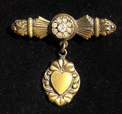 Victorian style stamped ornate brass dangle heart bar clear rhinestones BROOCH