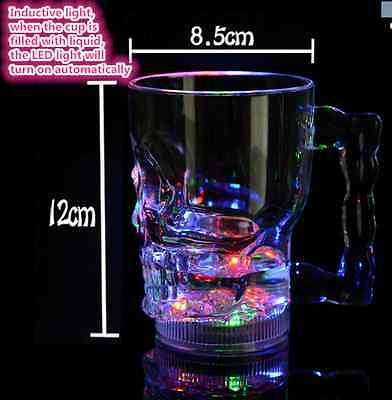 LED Glowing Skull Shape Acrylic Wine Glass Party Pub Beer Cup Mugs AU seller OZ