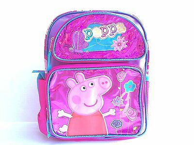 """Peppa Pig Large Backpack - 16"""" inches BRAND NEW for Girls - Licensed - Flower"""