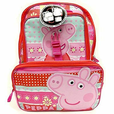 """Peppa Pig Large Backpack 16"""" inches & Lunch Box BRAND NEW Licensed Product"""