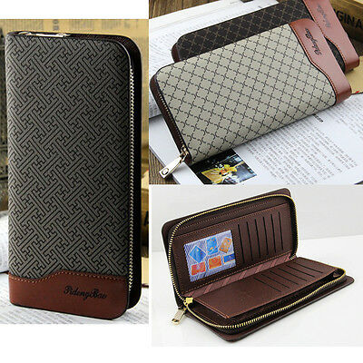 Fashion Zipper Long Wallet Clutch Wristlet Credit/ID Card Holder Leather Purse