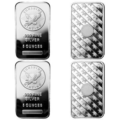 5 oz Sunshine Silver Bar (New, MintMark SI, Lot of 4)