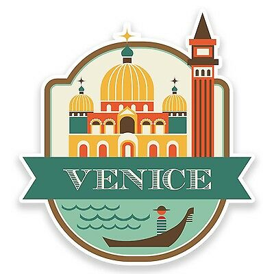 2 x 10cm Venice Italy Vinyl Sticker Luggage Travel Tag Label Car Italian #9187