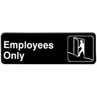 Employees Only Business Sign w/ Adhesive Back - 9 inches x 3 inches