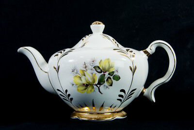 VINTAGE Ellgreave England Ironstone Pottery Teapot Unusual Yellow Floral Gold