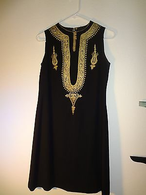 Rare Antique Middle Eastern Dress Hand Embroidered With Golden Thread