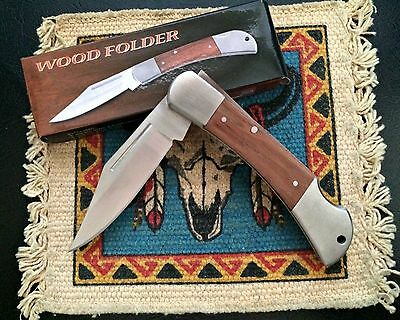 "7-1/4"" Classic Wood Handle Lockback Pocket Knife 211164 NEW"