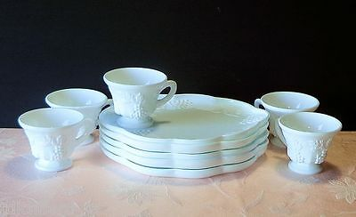Vintage Indiana Colony HARVEST Milk Glass 5 Snack Sets Plate & Cup Grapes White
