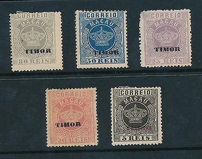 MACAU 1885 PORTUGUESE TIMOR UNUSED...5 stamps