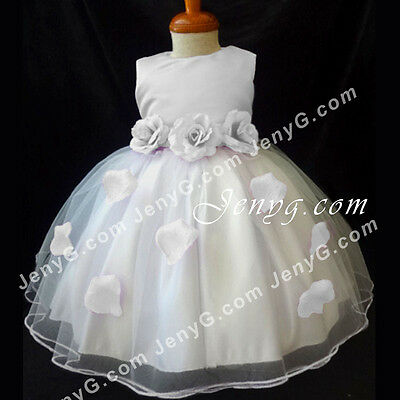 #HM41 Flower Girls/Christening/Pageant/Formal Gowns Dresses, White 0-24 Months