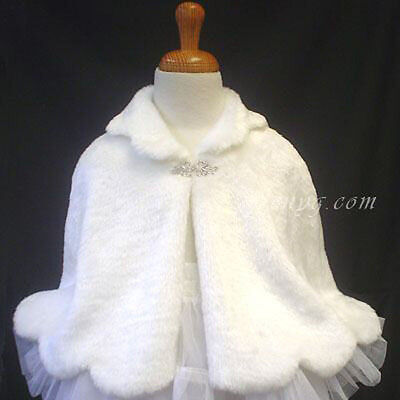 #PB51 Flower Girls/Wedding/Pageant/Formal/Birthday/Party Poncho, White 0-6 Years