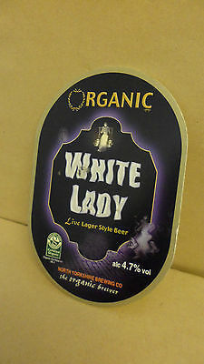 Organic White Lady Ale Beer Pump Clip face Bar Pub Collectible