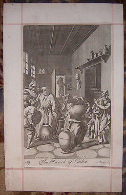 1701 Folio Copper Plate Bible Engraving/royaumont/the Miracle Of Elisha!