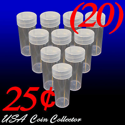(20) Quarter Size Crystal Clear Round Coin Tubes by HE Harris Twist Off Cap - 25