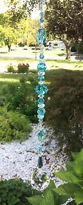 Healing Aqua Blue Crystal Suncatcher/Prism W/Swarovski Elements Lead Crystal USA