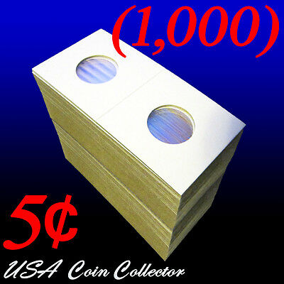(1000) Nickel Size 2x2 Mylar Cardboard Coin Flips for Storage & Display | 5 Cent