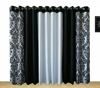 Ring Top Fully Lined Pair Eyelet Ready Made Curtains 3 Tone Damask Black White
