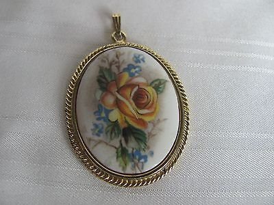 Whiting & Davis porcelain floral cameo pendant yellow rose gold plated rope trim