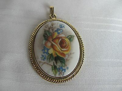 Whiting & Davis porcelain floral cameo yellow rose gold plated rope trim