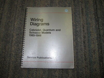 wiring diagrams for vw cabriolet quantum scirocco 1985-86 oem wiring manual